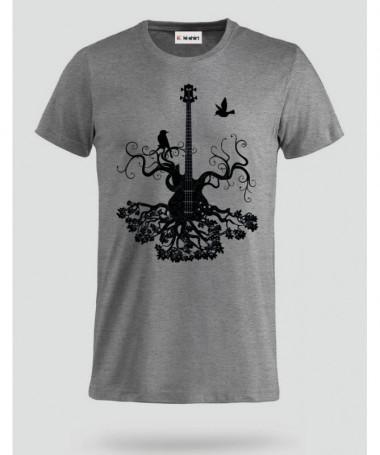 Black guita and bird T-shirt Basic Uomo