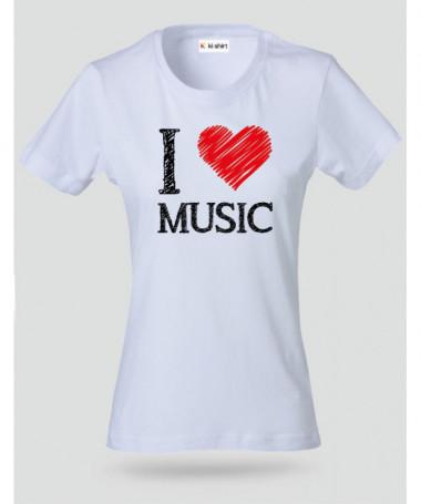 I love music T-shirt Basic Donna