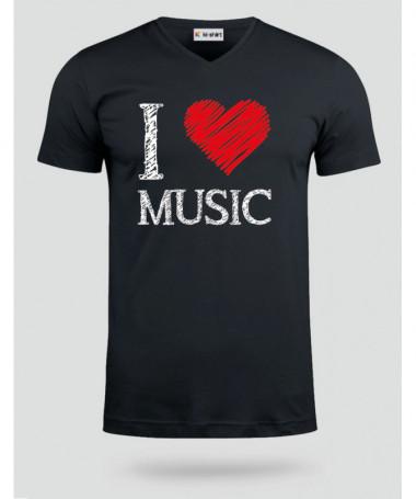 I love music T-shirt Scollo V