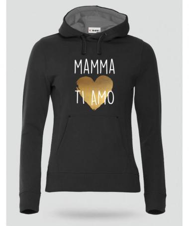 Mamma ti amo Felpa Premium con cappuccio Donna